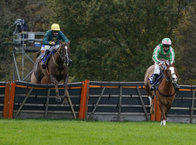 Twin Star (right) jumps the last clear of Robinshill