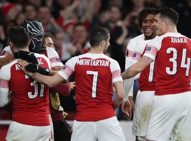 Arsenal's Pierre-Emerick Aubameyang put on a Black Panther mask to mark his goal against Rennes back in the 2018-19 season