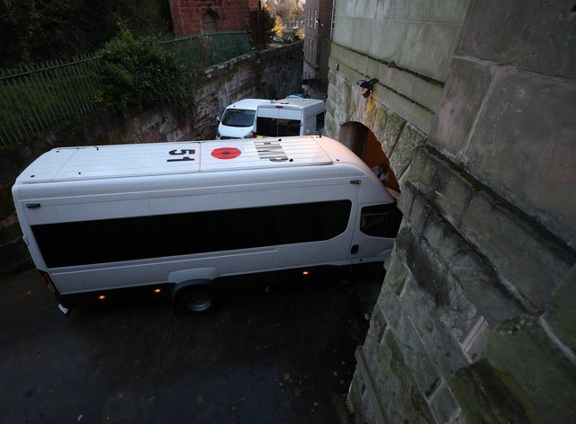 A prison van carrying Lucy Letby arrives at Chester Crown Court (Peter Byrne/PA)
