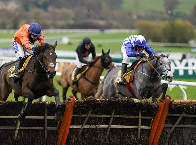 Duffle Coat (blue) on his way to victory at Cheltenham