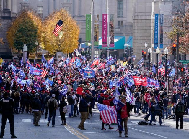 A pro-Trump march