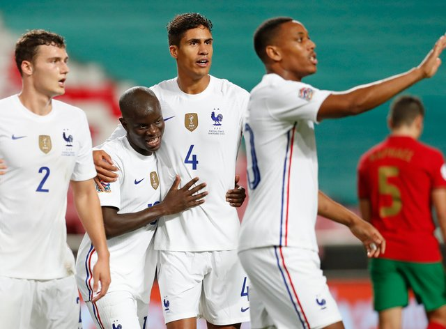 N'Golo Kante, second left, was on target as France beat Portugal in Lisbon