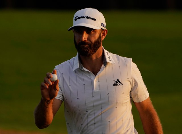 Dustin Johnson is on course for a second major title in the Masters