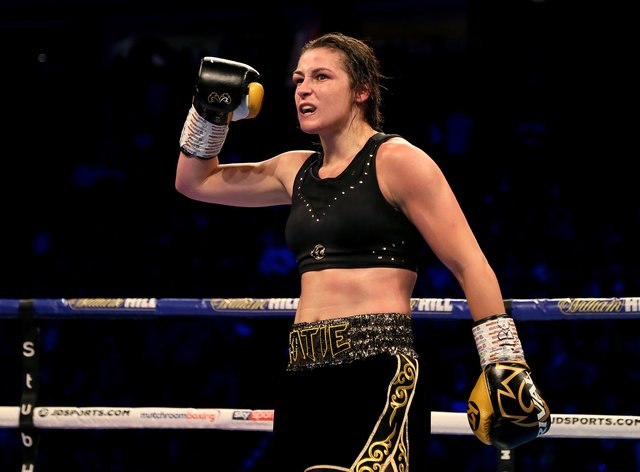 <p>Katie Taylor after her fight against Christina Lindardatou&nbsp;</p>