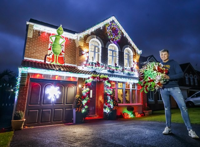 Paul Fenning outside his home in Doncaster, South Yorkshire, which is decorated in theme of The Grinch and The Nightmare Before Christmas