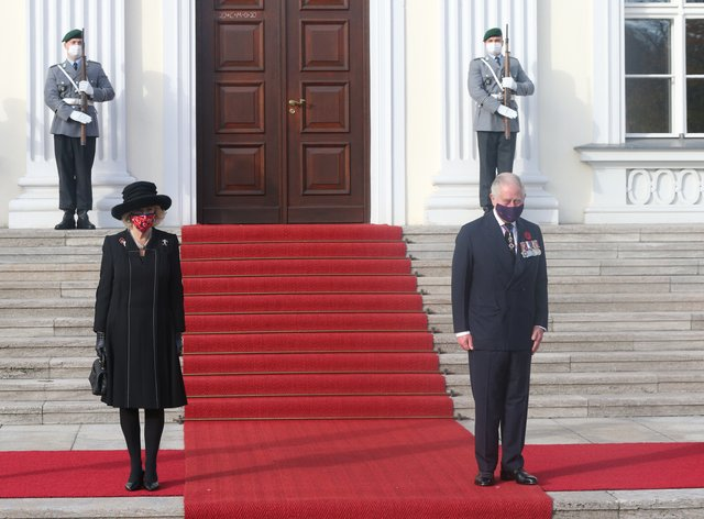 The Duchess of Cornwall and the Prince of Wales outside Bellevue Palace, Berlin