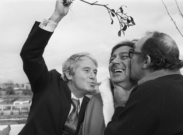 Comedians Ernie Wise and Eric Morecambe promote their 1979 Christmas show with their guest Des O'Connor