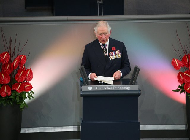 The Prince of Wales gives a speech in the Bundestag (German Federal Parliament) in Berlin