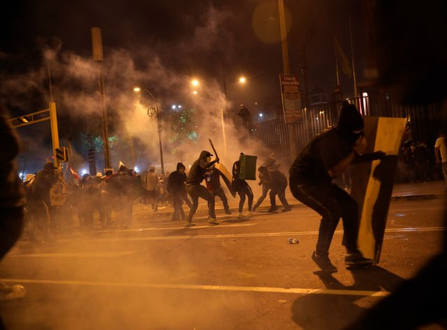 Police launch tear gas to disperse protesters