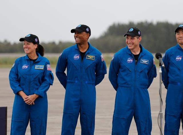 Shannon Walker, Victor Glover, Michael Hopkins and Soichi Noguchi