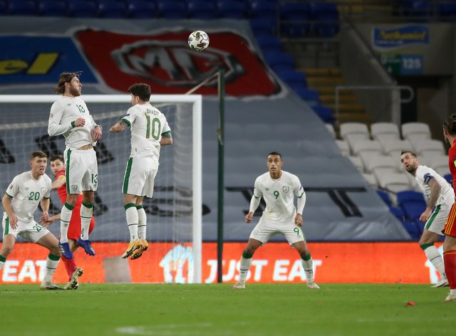 Gareth Bale (right) goes close from a free-kick in Wales' Nations League clash with the Republic of Ireland