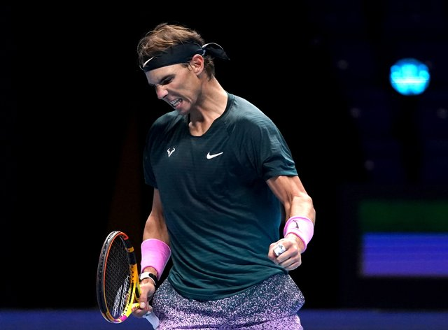 Rafael Nadal celebrates beating Andrey Rublev
