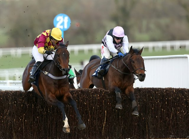 Siruh Du Lac (left) who was a first fence casualty in the Paddy Power Gold Cup, could now head to Newbury later this month for the Ladbrokes Trophy