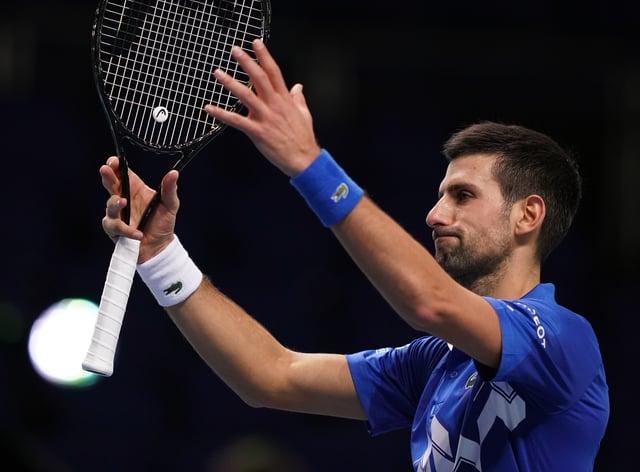 Novak Djokovic salutes an empty arena after beating Diego Schwartzman