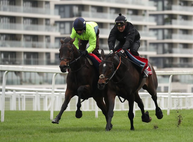 Epatante (left) with Altior at Newbury on Tuesday
