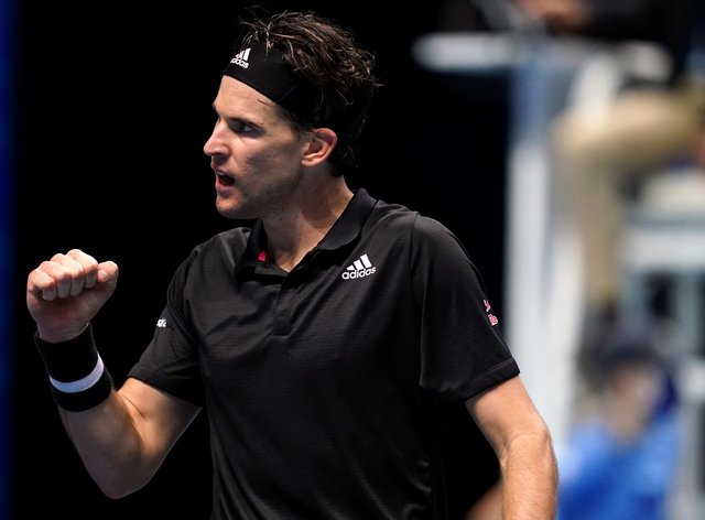 Dominic Thiem clenches his fist during his victory over Rafael Nadal