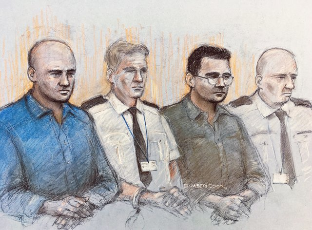 Court artist sketch of Gheorghe Nica (left) and Eamonn Harrison (right)