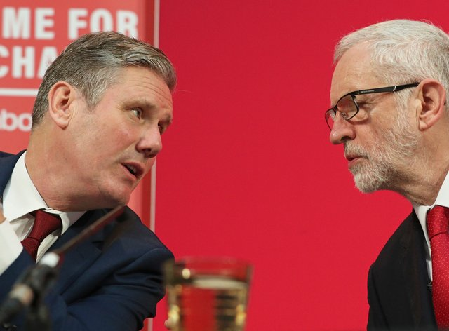 Labour leader Sir Keir Starmer and his predecessor Jeremy Corbyn