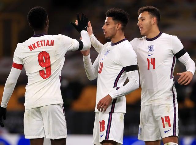 England Under-21s celebrate James Justin's goal against Albania