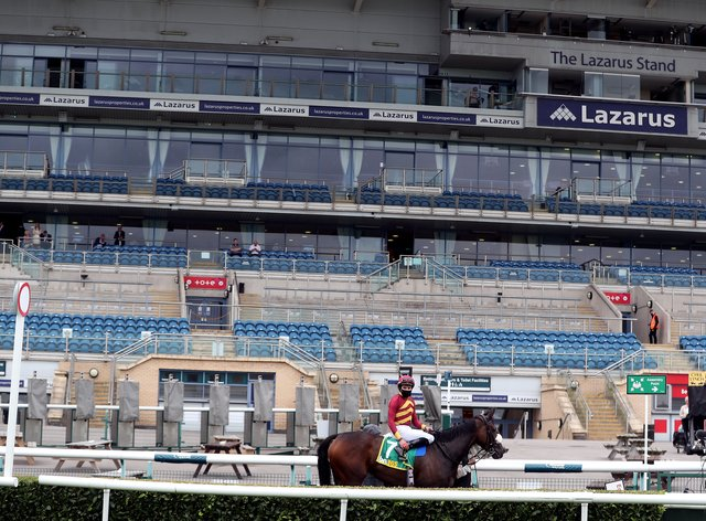 Empty stands at Doncaster's St Leger meeting