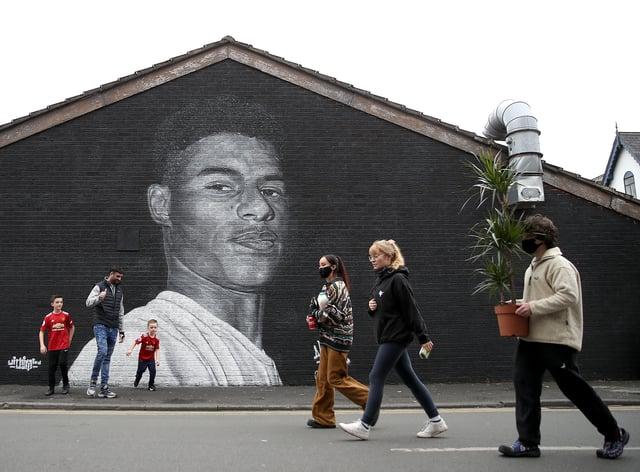 A mural of Manchester United striker Marcus Rashford by street artist Akse