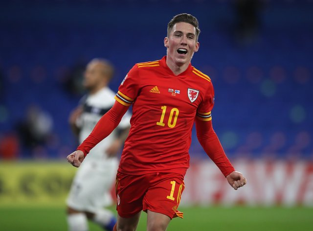 Harry Wilson celebrates after scoring Wales' opening goal against Finland