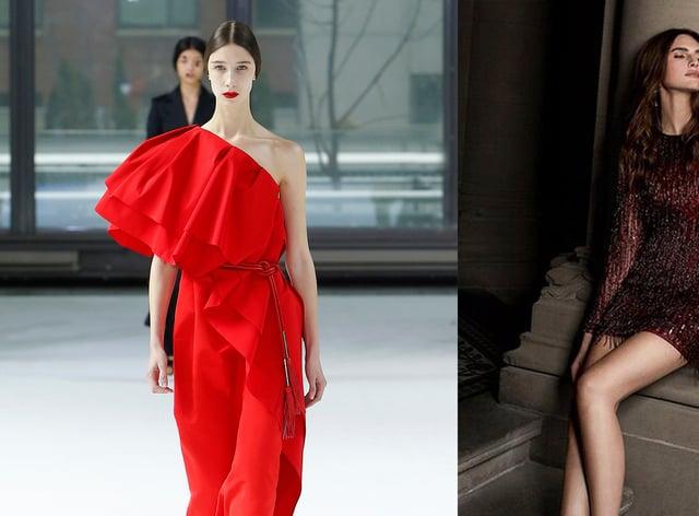 model on the Carolina Herrera AW20 catwalk; Karen Millen Sequin And Beaded Tassel Dress