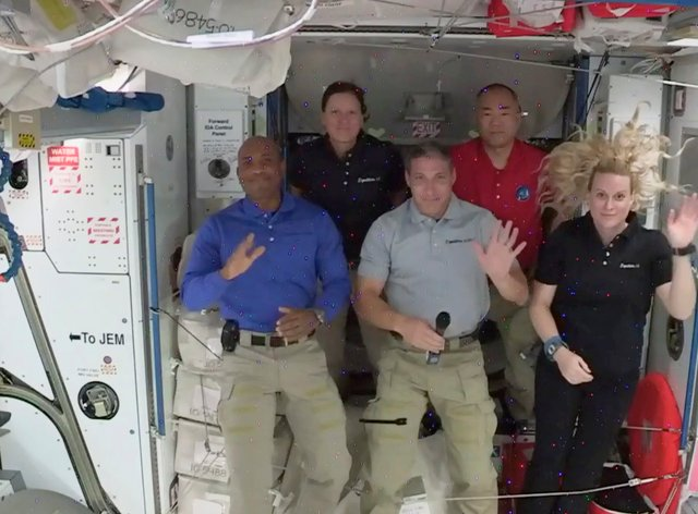 Nasa astronauts from left to right pilot Victor Glover, mission specialist Shannon Walker, Crew Dragon commander Michael Hopkins, Japan Aerospace Exploration Agency (JAXA) astronaut and mission specialist Soichi Noguchi and flight engineer Kate Rubins