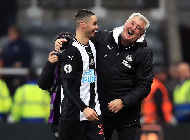 Newcastle United manager Steve Bruce enjoys working with Miguel Almiron