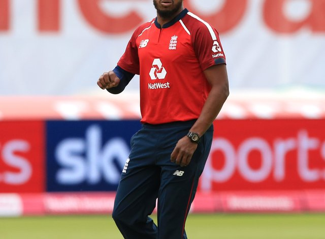 England bowler Chris Jordan, pictured, could break Stuart Broad's record for T20 wickets