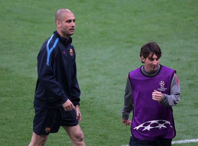 Pep Guardiola (left) has refused to entertain speculation linking Manchester City with Lionel Messi (right)