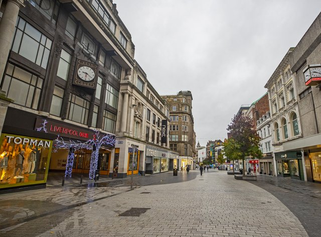 Deserted streets in Liverpool city centre as England continues a four-week national lockdown (Peter Byrne/PA)
