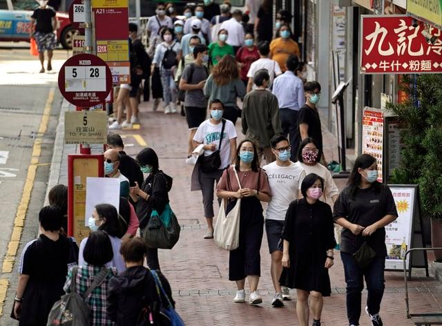 People wearing masks in Hong Kong