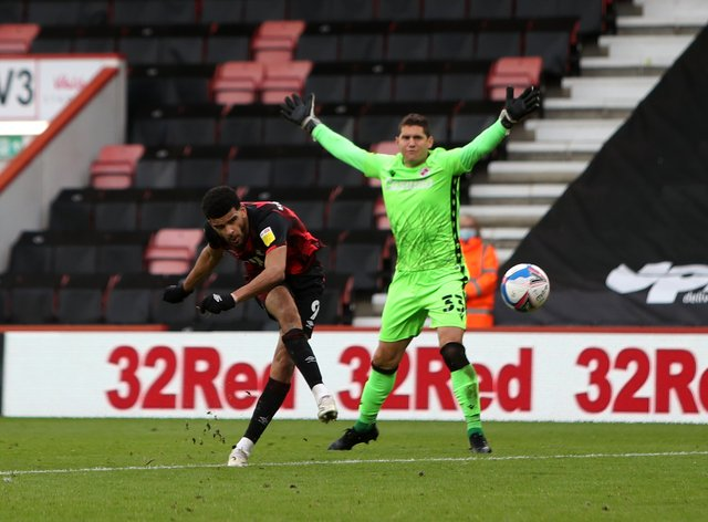 Bournemouth's Dominic Solanke scores his sides fourth goal