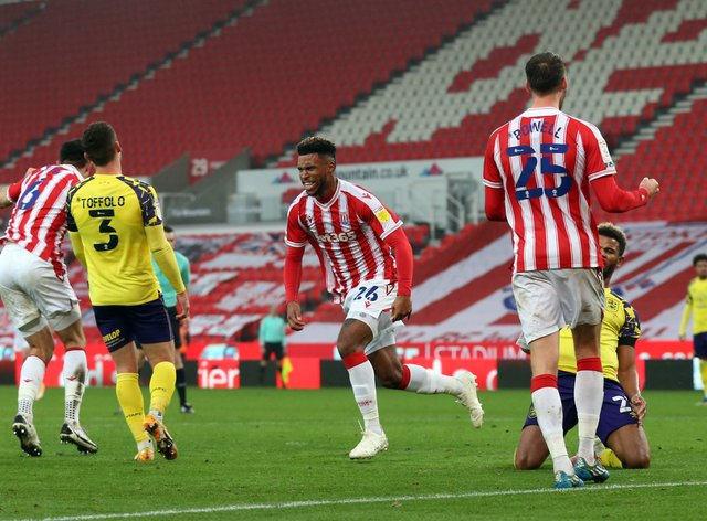 Tyrese Campbell, centre, scored a brace in the seven-goal thriller