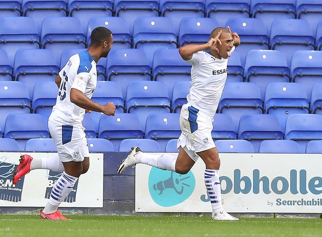 James Vaughan netted a first-half brace for Tranmere