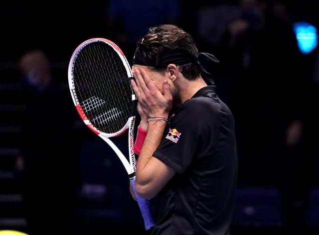 Dominic Thiem shows his emotion after beating Novak Djokovic at The O2 arena