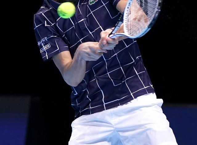 Daniil Medvedev hits a backhand during his victory over Rafael Nadal