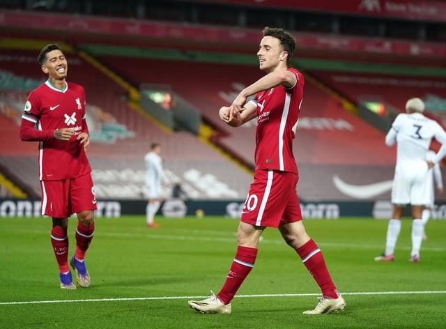 Diogo Jota celebrates scoring against Leicester
