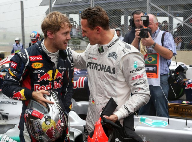 Vettel and Schumacher drove against one another between 2010 and 2012