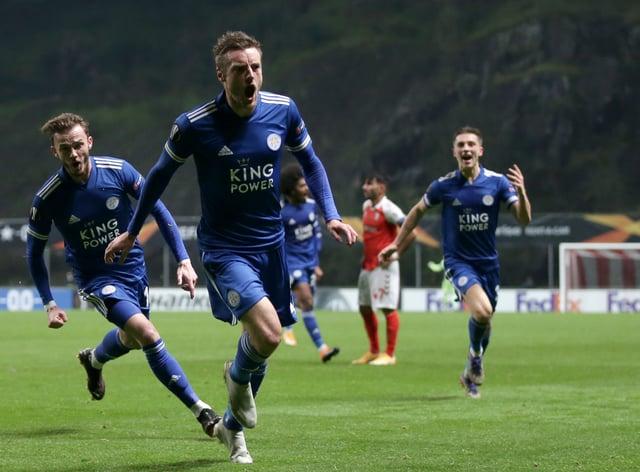 Jamie Vardy scored Leicester's late leveller against Braga