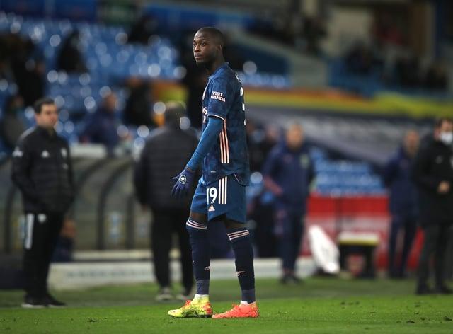 Nicolas Pepe was sent off at Leeds