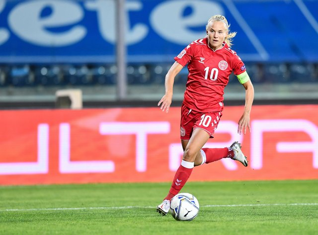 <p>Pernille Harder, who currently plays for Chelsea, has earned over 120 caps for Denmark</p>