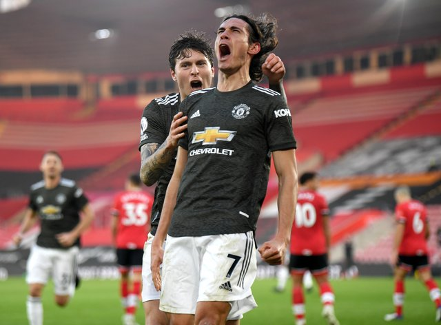 Edinson Cavani (right) posted a controversial comment on social media after scoring twice in Manchester United's win over Southampton.