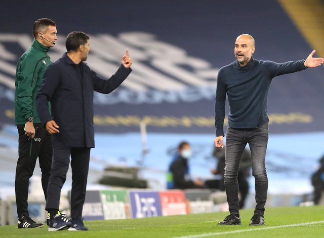 Pep Guardiola (right) and Sergio Conceicao (left) exchanged words when Manchester City faced Porto in October