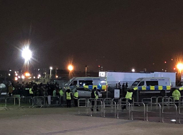 Fans gather outside Celtic Park to protest against manager Neil Lennon