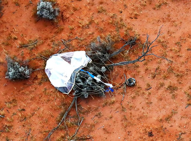 The capsule landed in Woomera, Australia