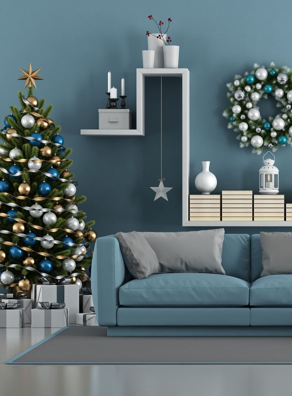 Clean and tidy living room with christmas tree, sofa and shelfing