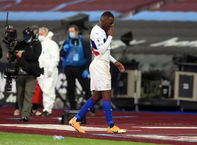 Christian Benteke leaves the field against West Ham