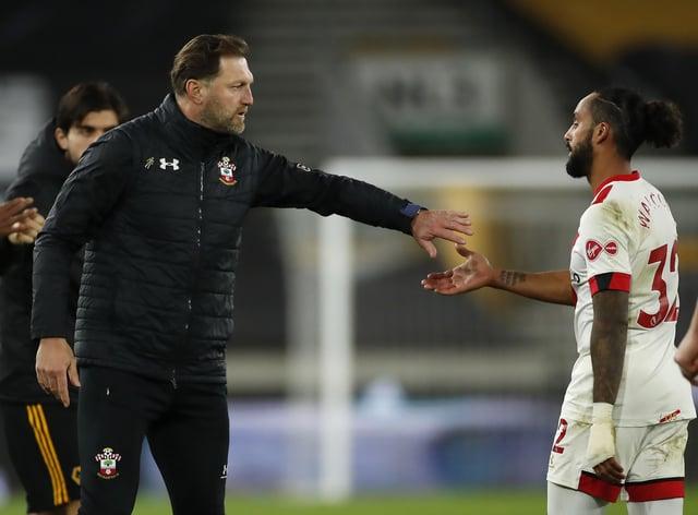 Southampton manager Ralph Hasenhuttl (left) congratulates Theo Walcott after a Premier League match